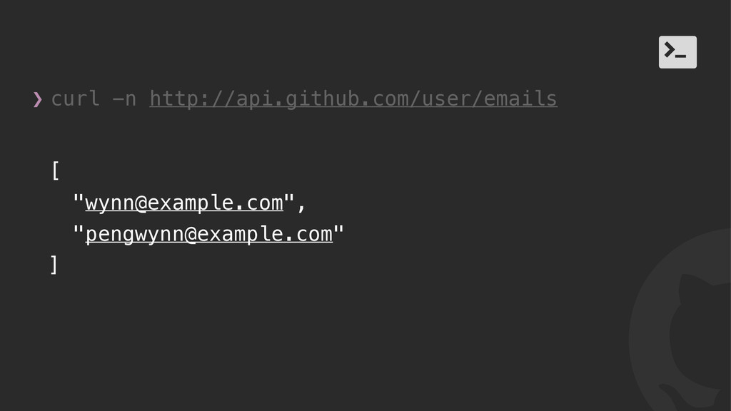 "! / [ ""wynn@example.com"", ""pengwynn@example.com..."