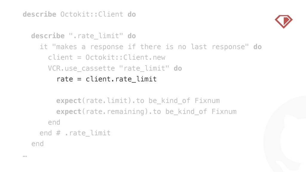 """! describe Octokit::Client do ! describe """".rate..."""