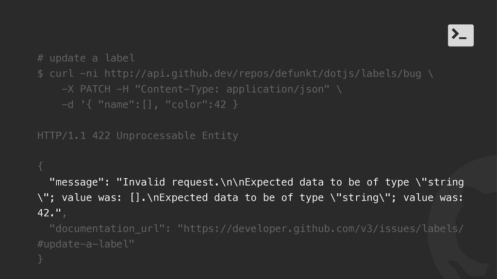 ! / # update a label $ curl -ni http://api.gith...