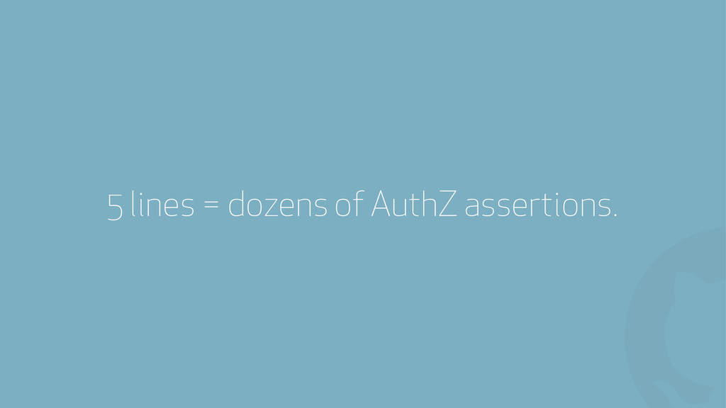 ! 5 lines = dozens of AuthZ assertions.