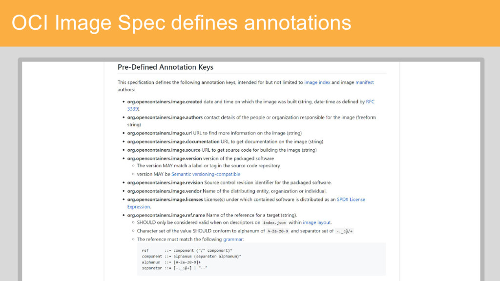 OCI Image Spec defines annotations