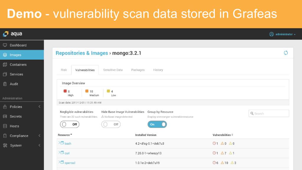 Demo - vulnerability scan data stored in Grafeas