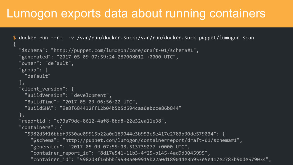 Lumogon exports data about running containers $...
