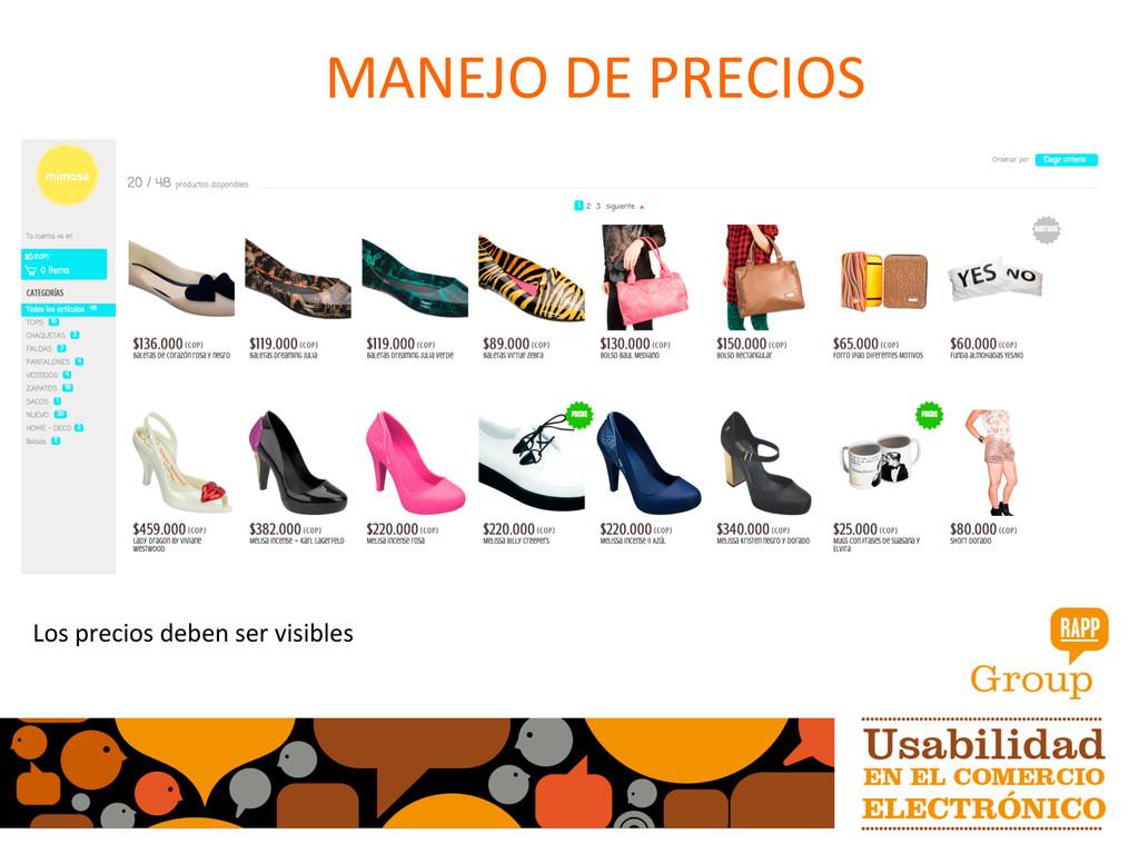 MANEJO DE PRECIOS  Los precios d...