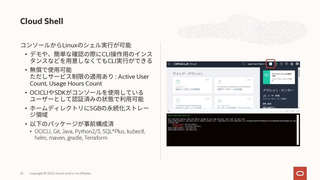 Cloud Shell Linux • CLI CLI • 翻 : Active User C...