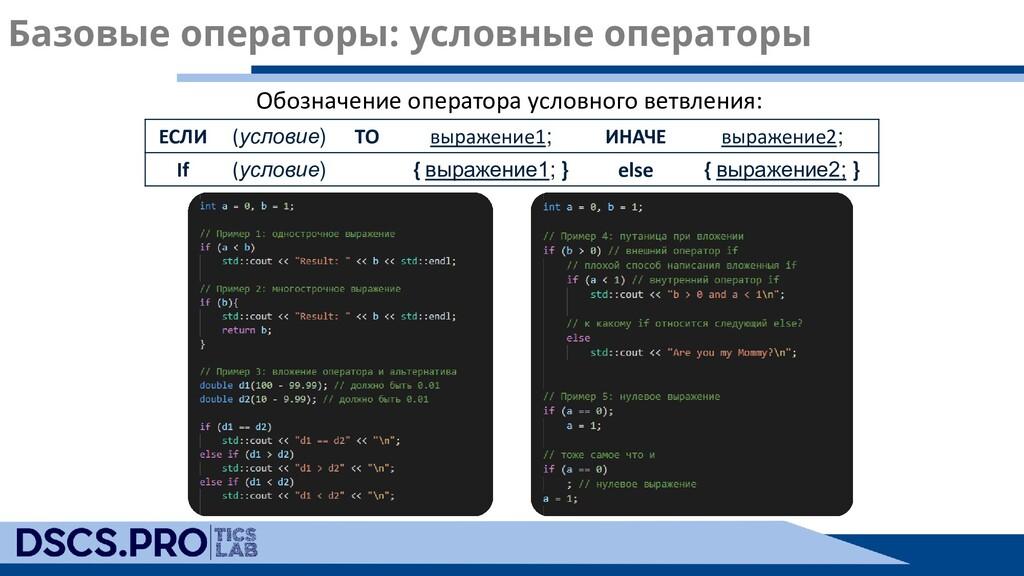 Базовые операторы: условные операторы ЕСЛИ (усл...