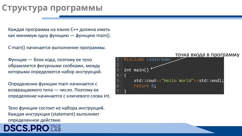 Структура программы Каждая программа на языке С...