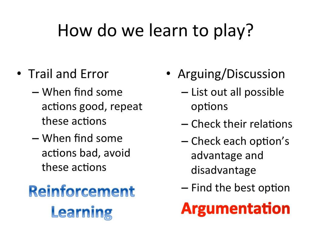 How do we learn to play? • Argu...
