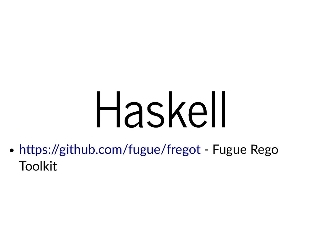 Haskell Haskell - Fugue Rego Toolkit h ps:/ /gi...