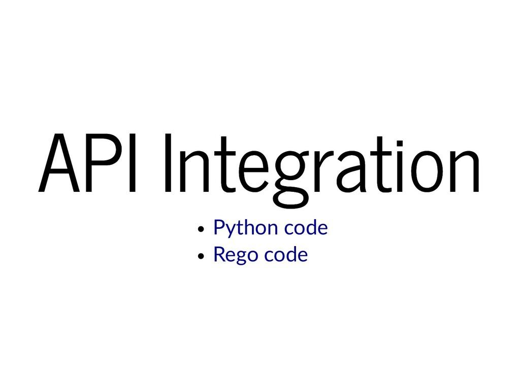 API Integration API Integration Python code Reg...