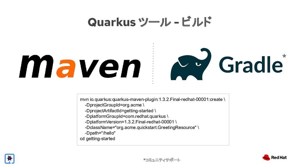 Quarkus ツール - ビルド mvn io.quarkus:quarkus-maven-...