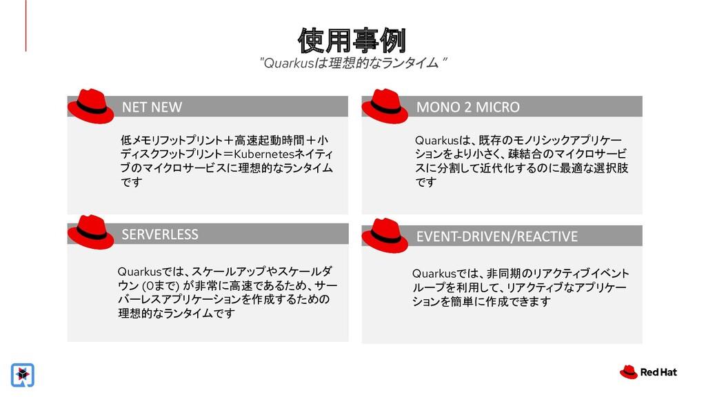 """使用事例 """"Quarkusは理想的なランタイム """" 低メモリフットプリント+高速起動時間+小 ..."""