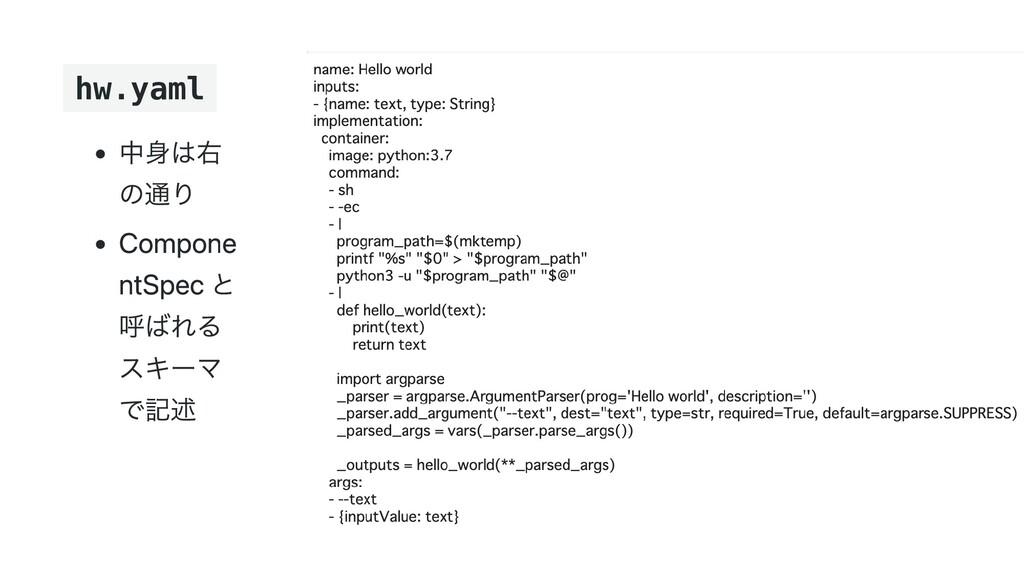 hw.yaml 中身は右 の通り Compone ntSpec と 呼ばれる スキーマ で記述
