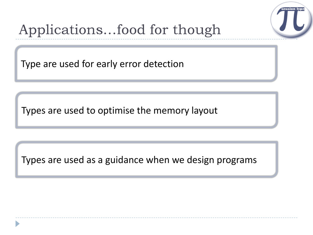 Applications…food for though Type are used for ...
