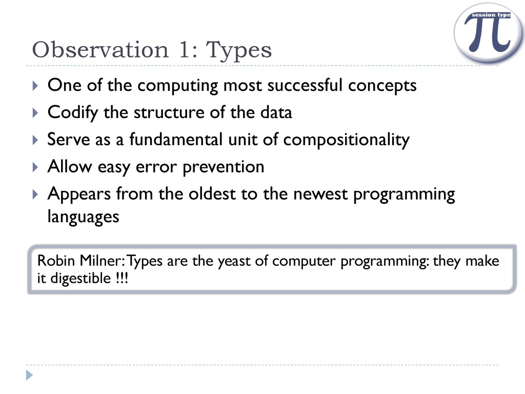 Observation 1: Types  One of the computing mos...