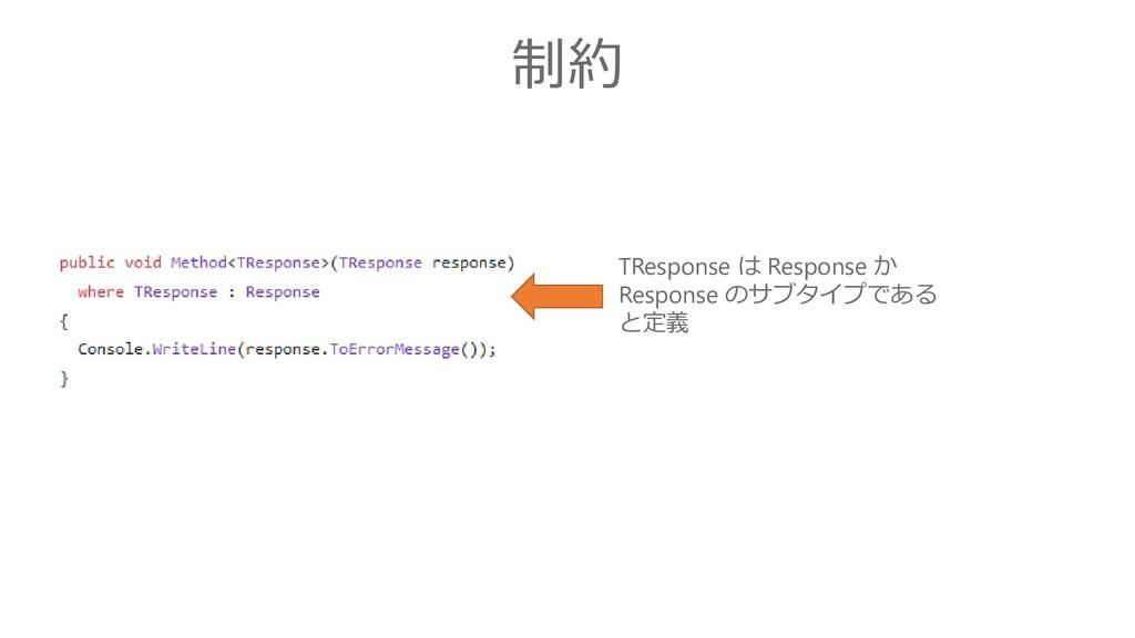 制約 TResponse は Response か Response のサブタイプである と定義