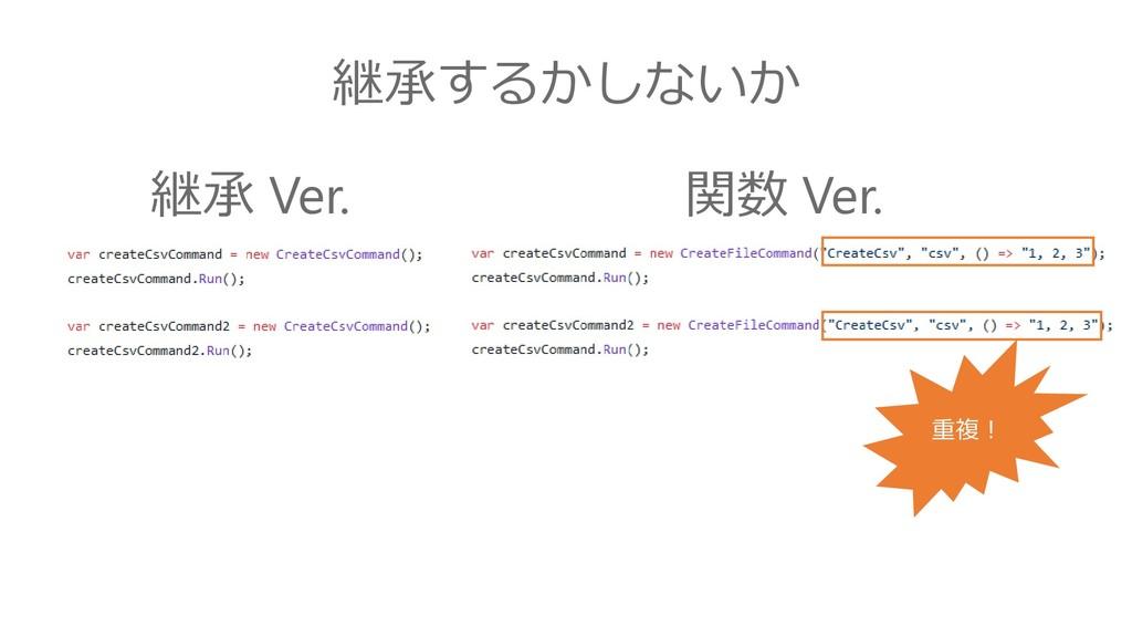 継承するかしないか 継承 Ver. 関数 Ver. 重複!