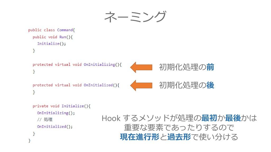 ネーミング 初期化処理の前 初期化処理の後 Hook するメソッドが処理の最初か最後かは 重要...