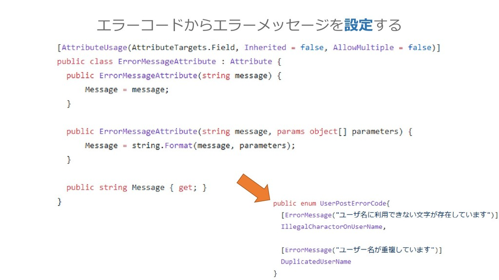 エラーコードからエラーメッセージを設定する