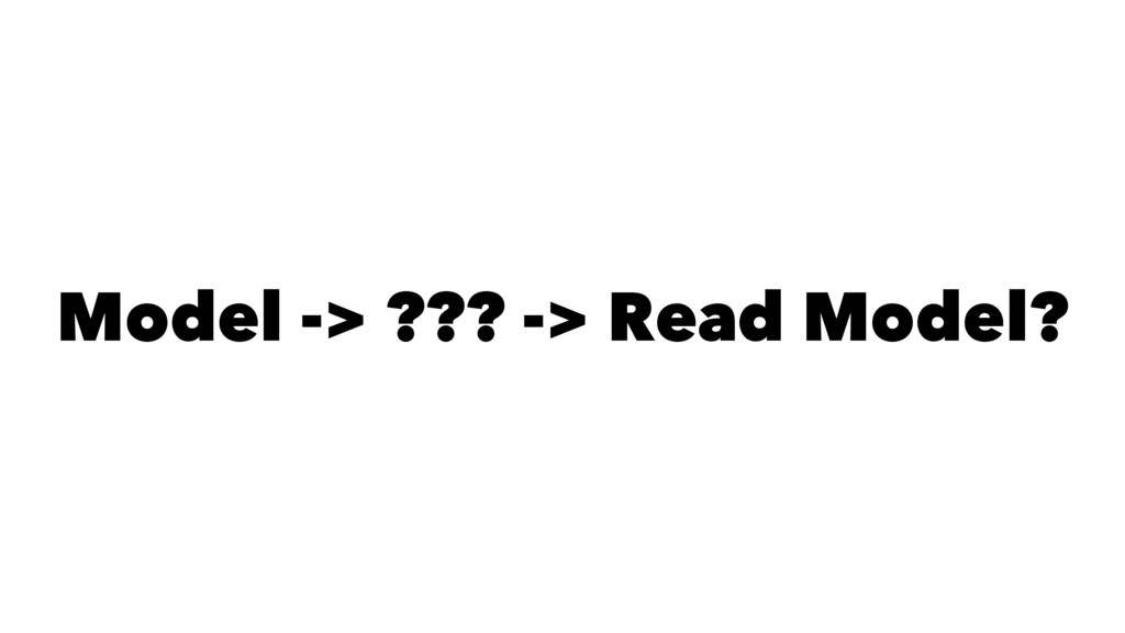 Model -> ??? -> Read Model?