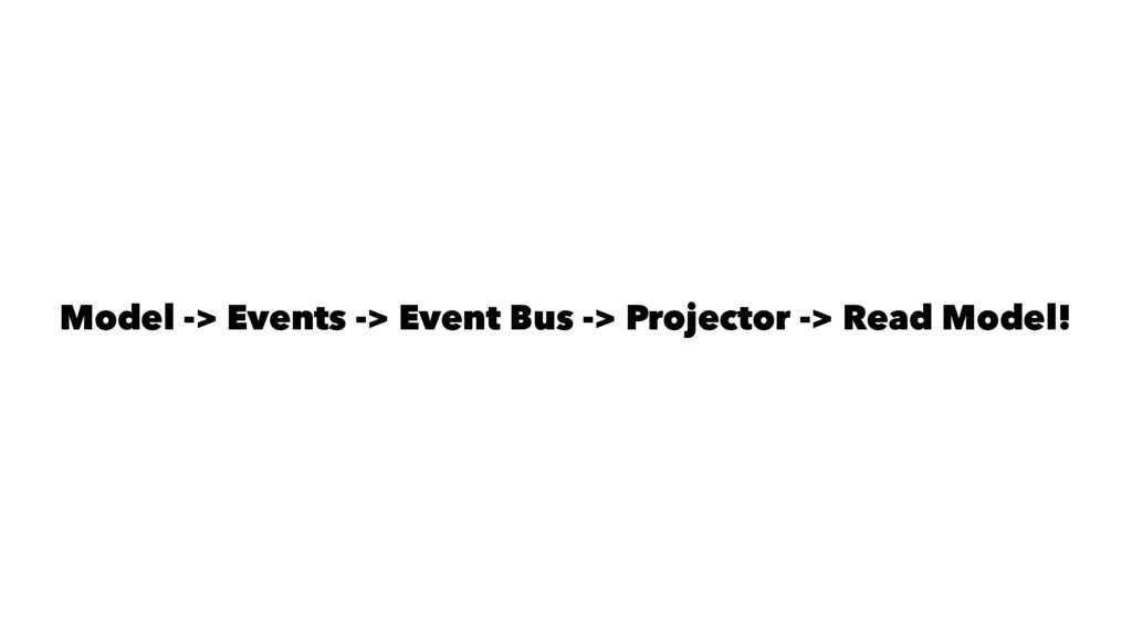 Model -> Events -> Event Bus -> Projector -> Re...