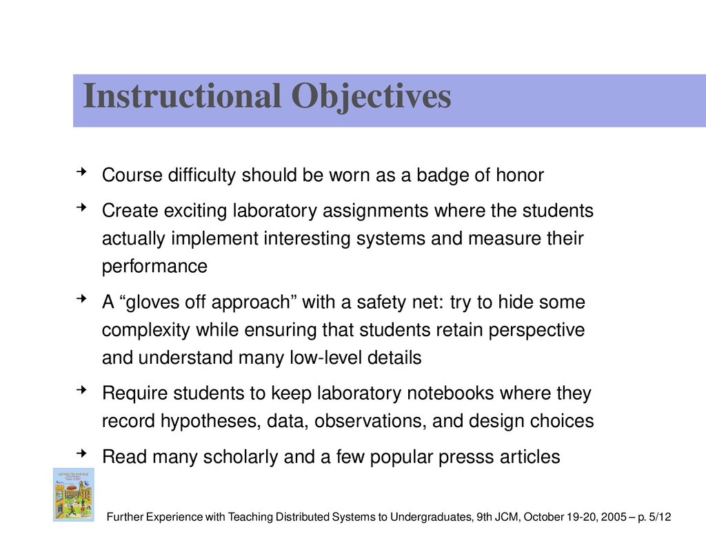 Instructional Objectives Course difficulty shoul...