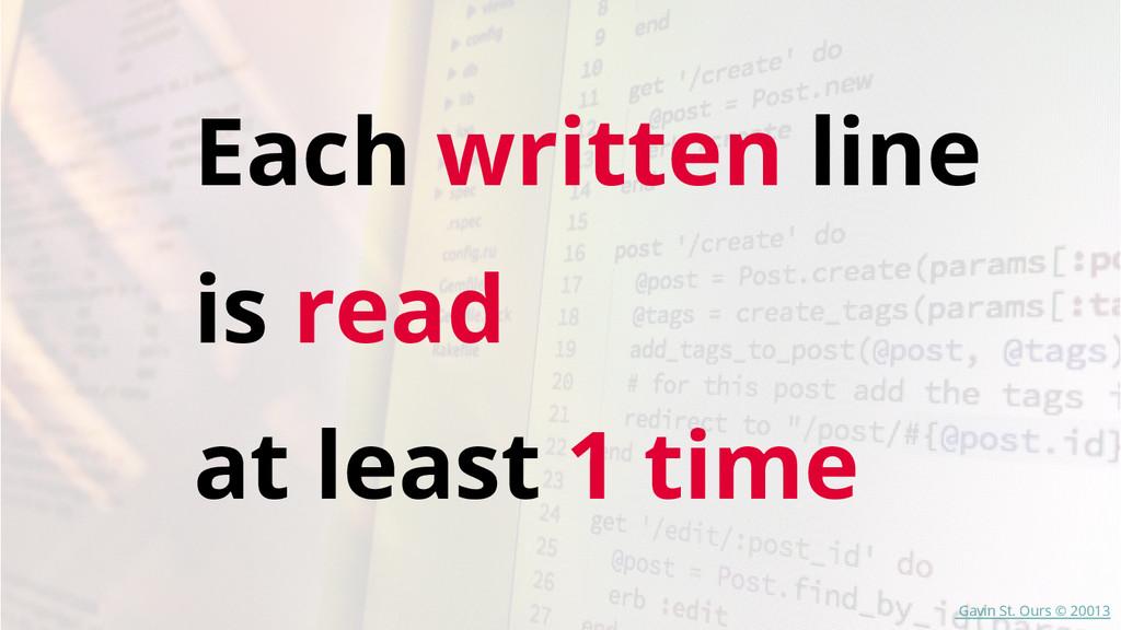 Each written line is read at least 1 time Gavin...