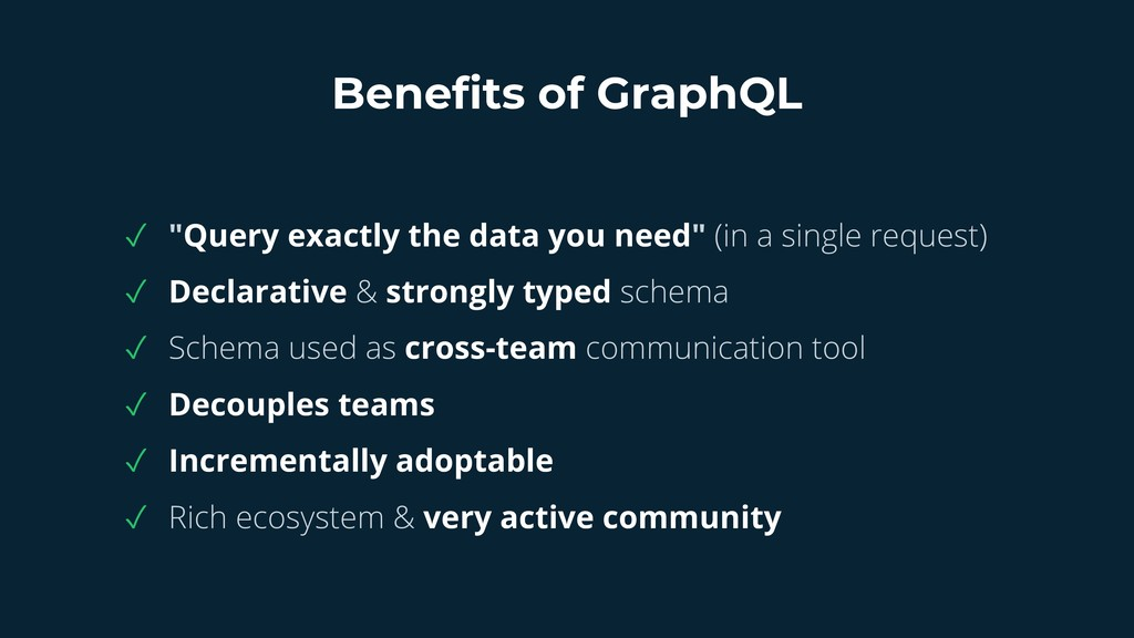 """Benefits of GraphQL ✓ """"Query exactly the data y..."""