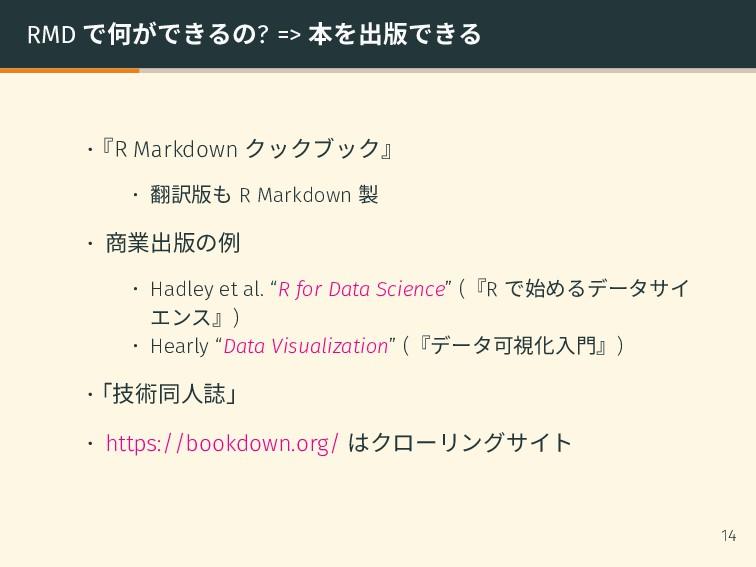 RMD で何ができるの? => 本を出版できる •『R Markdown クックブック』 • ...