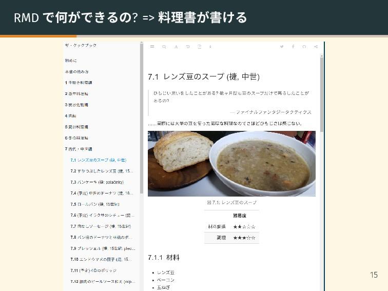 RMD で何ができるの? => 料理書が書ける 15