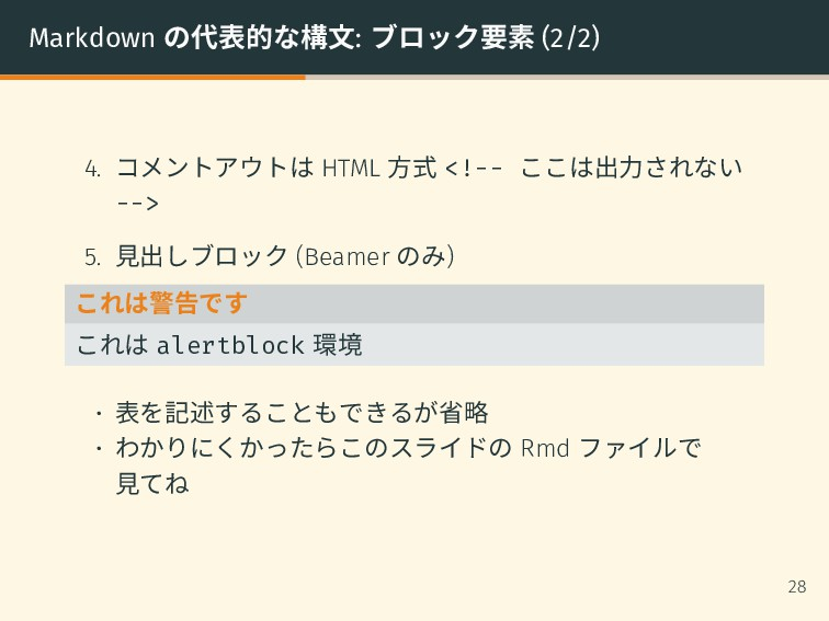 Markdown の代表的な構文: ブロック要素 (2/2) 4. コメントアウトは HTML...