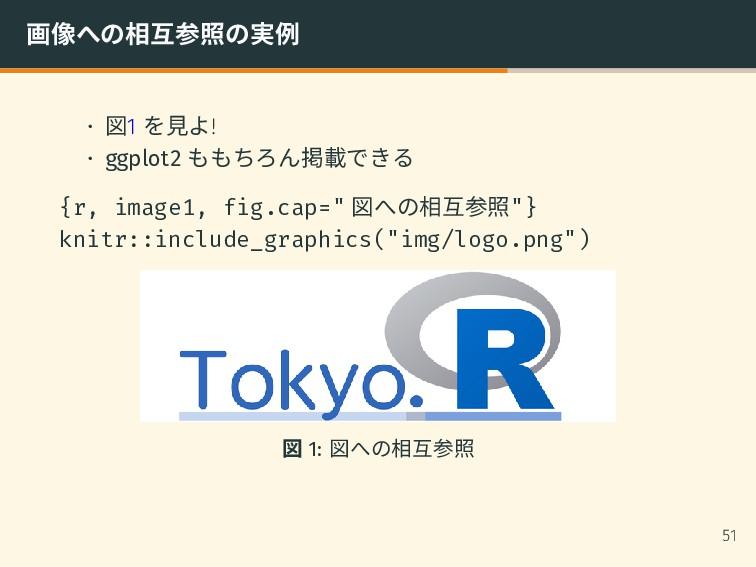 画像への相互参照の実例 • 図1 を見よ! • ggplot2 ももちろん掲載できる {r, ...