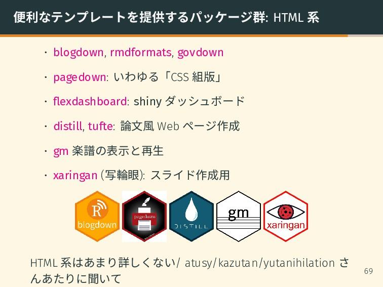 便利なテンプレートを提供するパッケージ群: HTML 系 • blogdown, rmdfor...