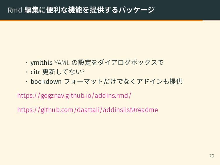 Rmd 編集に便利な機能を提供するパッケージ • ymlthis YAML の設定をダイアログ...