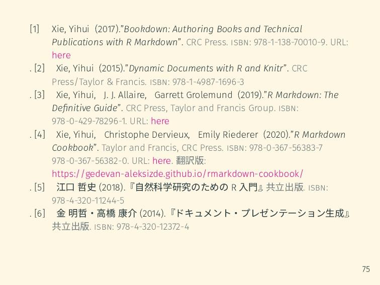 "[1] Xie, Yihui (2017).""Bookdown: Authoring Book..."