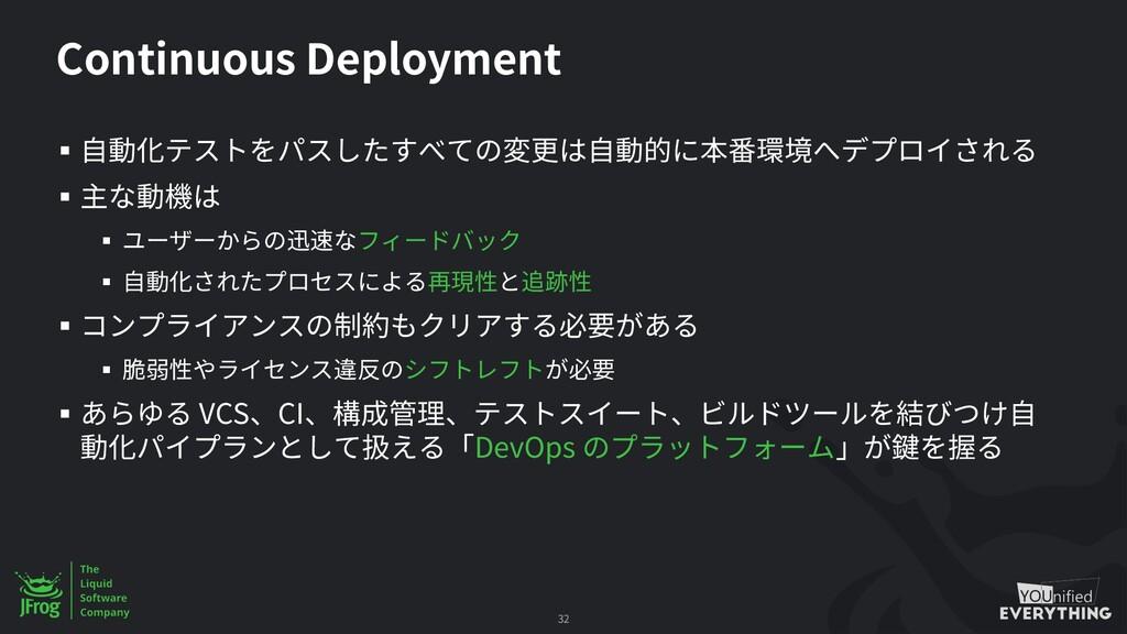 Continuous Deployment § § § § § § § VCS CI DevO...