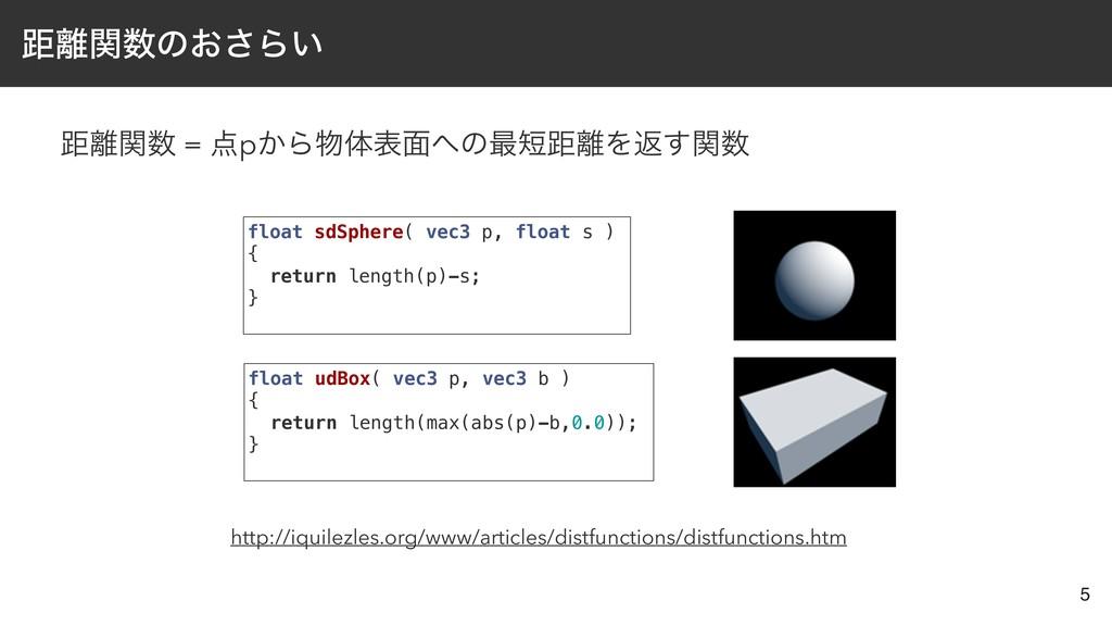 ڑؔͷ͓͞Β͍ ڑؔ = p͔Βମද໘ͷ࠷ڑΛฦؔ͢ 5 float sd...