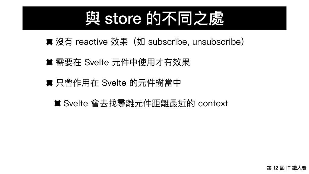 第 12 屆 IT 鐵⼈賽 與 store 的不同之處 沒有 reactive 效果(如 su...