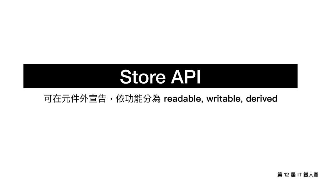 第 12 屆 IT 鐵⼈賽 Store API 可在元件外宣告,依功能分為 readable,...