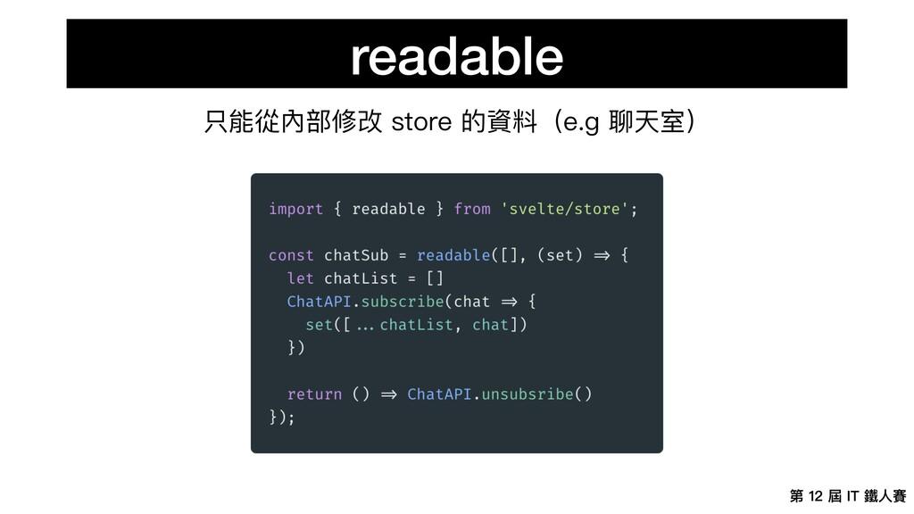 第 12 屆 IT 鐵⼈賽 readable 只能從內部修改 store 的資料(e.g 聊天...