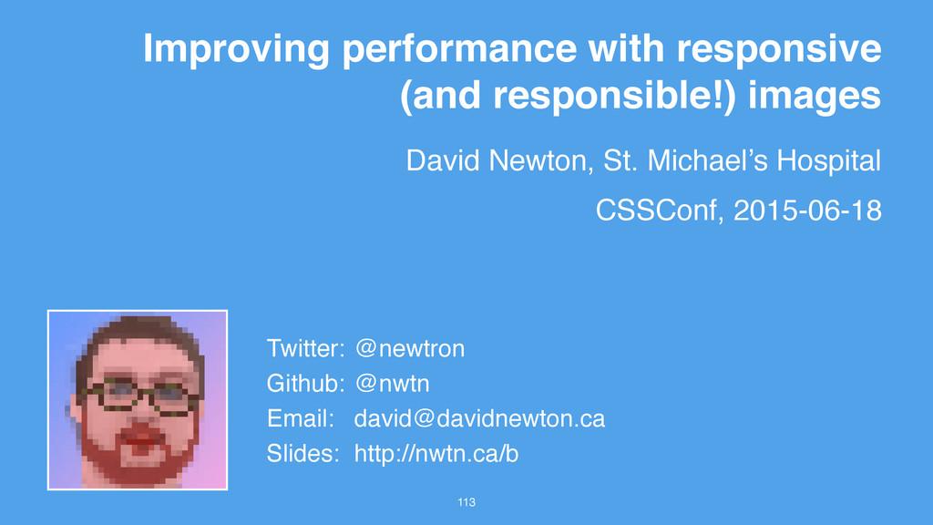 David Newton, St. Michael's Hospital 113 Improv...