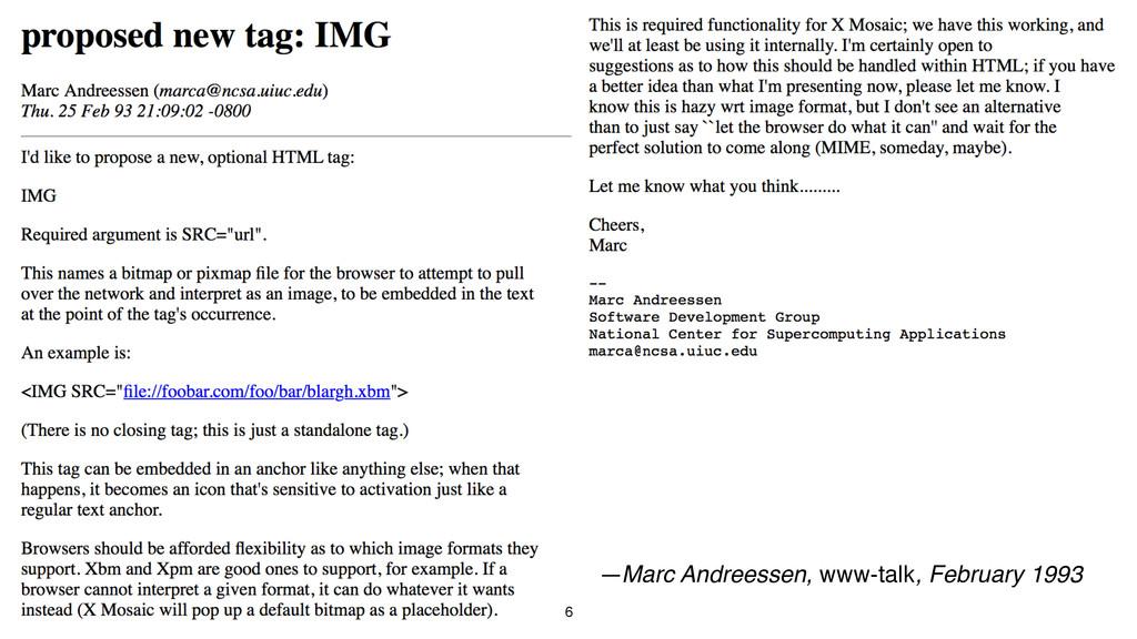 6 —Marc Andreessen, www-talk, February 1993