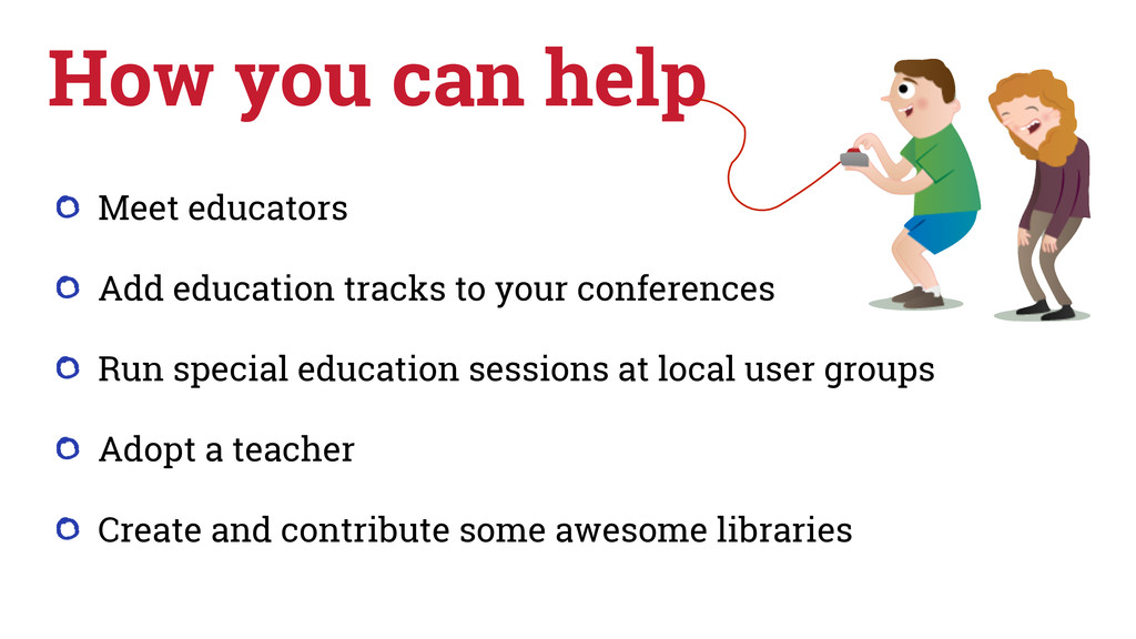 Meet educators Add education tracks to your con...