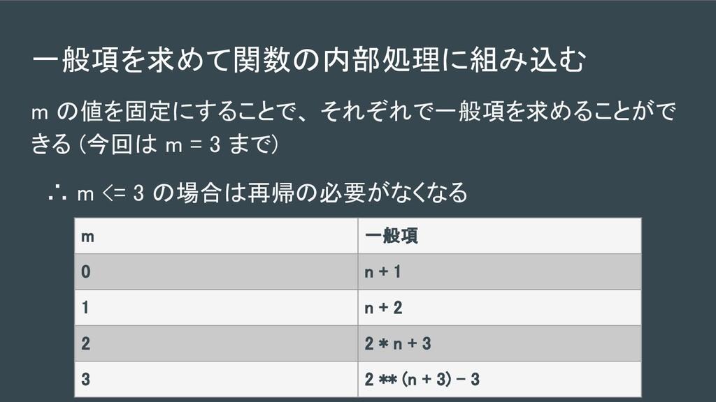 一般項を求めて関数の内部処理に組み込む  m の値を固定にすることで、 それぞれで一般項を...