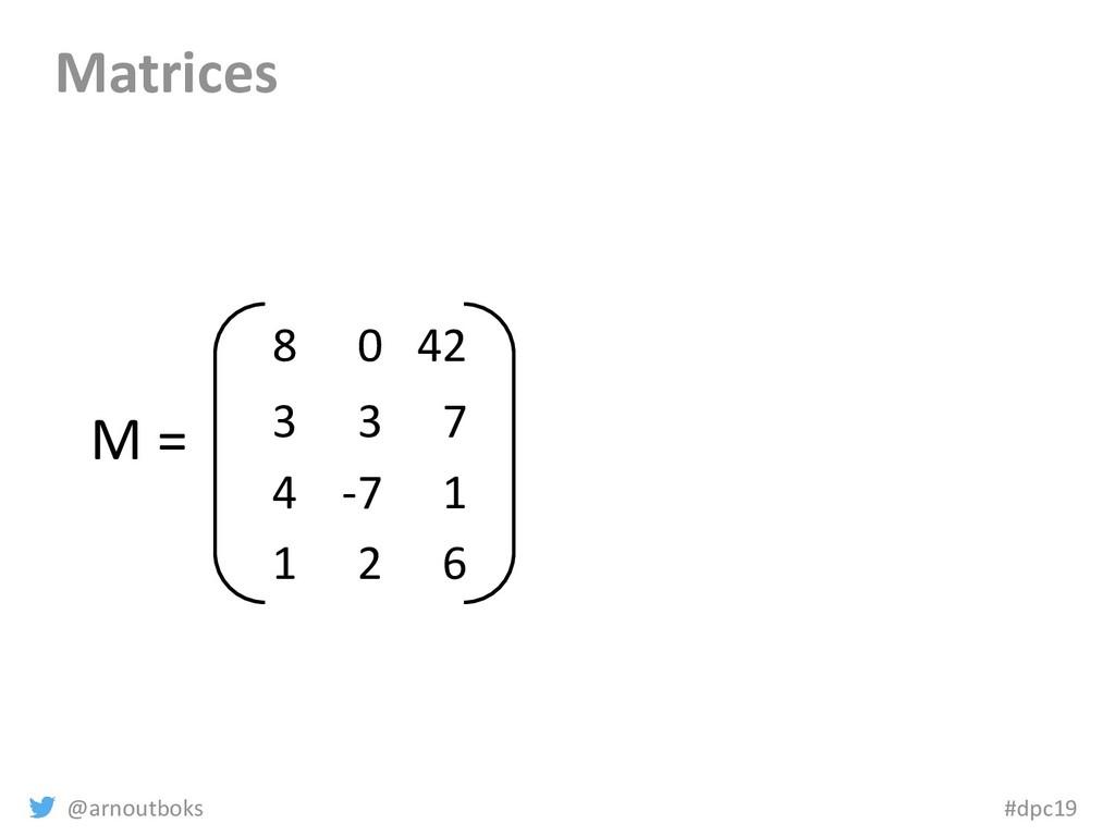 @arnoutboks #dpc19 Matrices 8 0 42 3 3 7 4 -7 1...