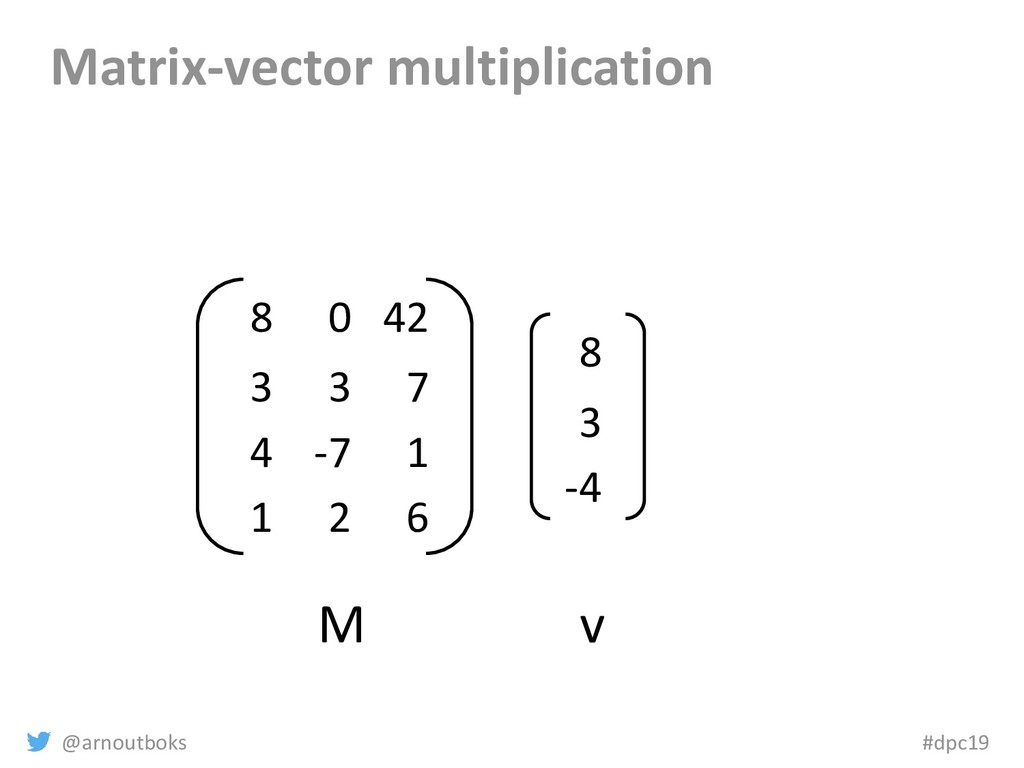 @arnoutboks #dpc19 Matrix-vector multiplication...