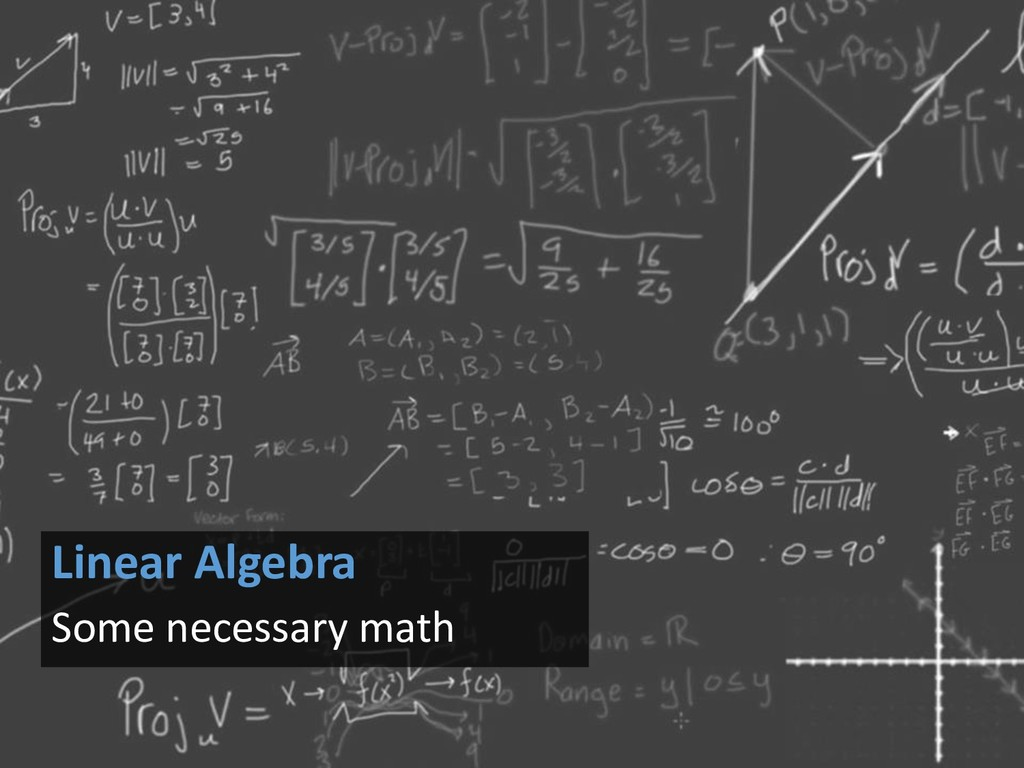Linear Algebra Some necessary math