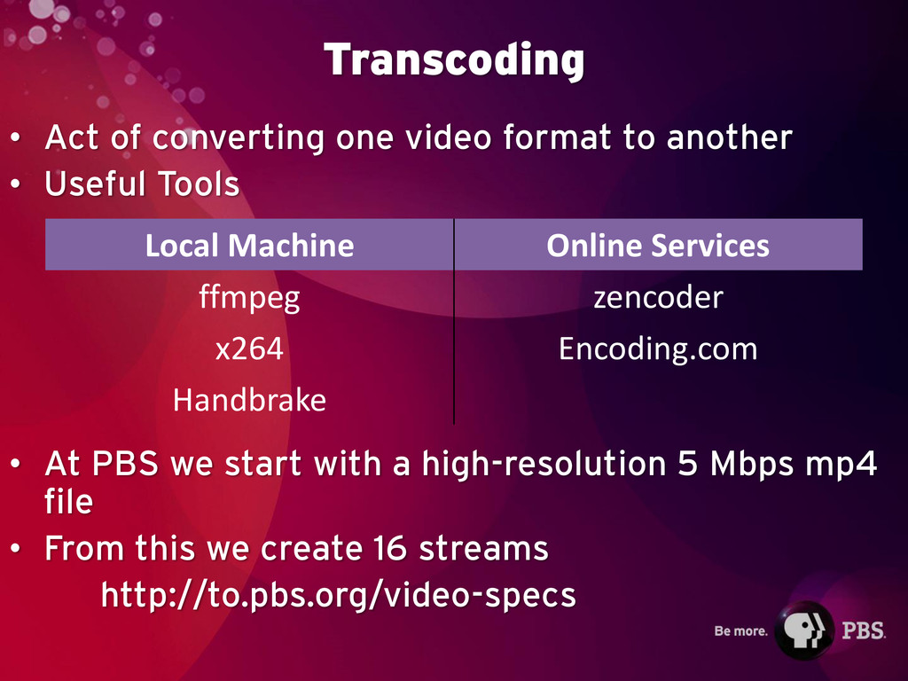 Transcoding • Act of converting one video forma...