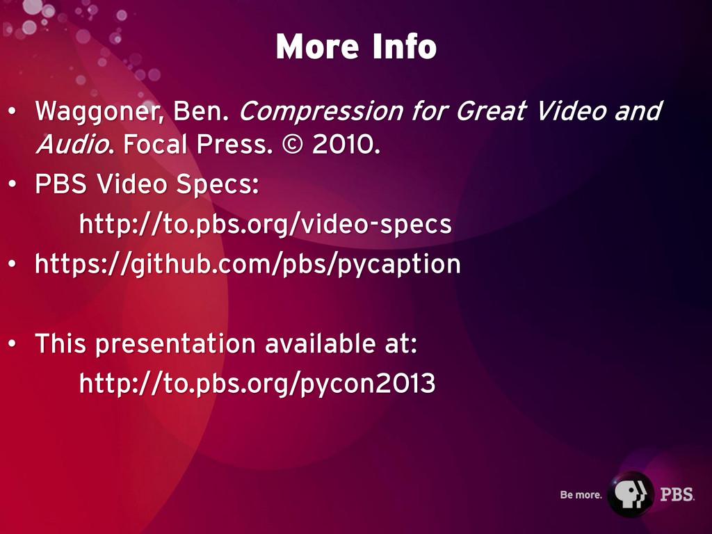 More Info • Waggoner, Ben. Compression for Grea...