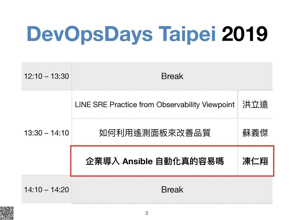 DevOpsDays Taipei 2019 3 12:10 – 13:30 Break 13...